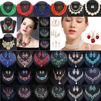 Fashion Crystal Choker Chunky Statement Bib Pendant Women Necklace Chain Jewelry