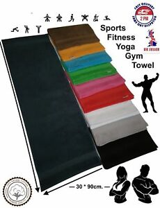 1x White / Sports Gym Yoga Towel / 100%Cotton Soft Uni-Colour / Border / 30 x 90