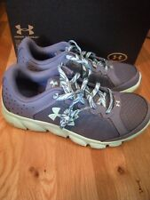 New Girls Gray & Green Under Armour GGS Micro Assert 6 Tennis Shoes, Size 6
