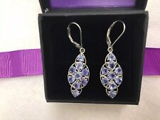 STUNNING TANZANITE 2carat DROP LEVER-BACK EARRINGS IN STERLING SILVER