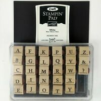 Stampin' Up! Lot 2003 Classic Alphabet Wood Rubber Stamp Set w/Ink Pad Paper