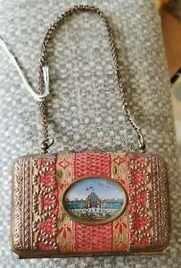 Antique Palais Royal Eglomise Souvenir Purse