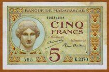 Madagascar, 5 Francs (1937), P-35, (595)