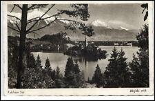 Bled Veldes Slowenien Postkarte 1943 gelaufen Veldeser See Blejski otok Insel
