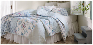 NEW Simply Shabby Chic White & Blue DASCHA PATCHWORK Queen Quilt ~Boho Bungalow~