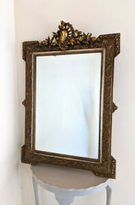 SUPERB FRENCH ANTIQUE GILDED MIRROR WITH ROCOCO CREST - c.1900