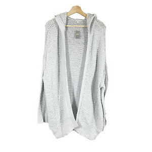 AERIE Knit Hooded Sweater Cardigan Sz L/XL Light Gray  Open Style NWT