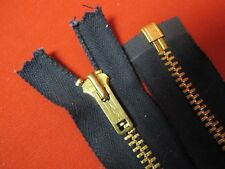 "1 Talon ZIPPER USA Vintage Jacket Separating Brass 28½"" Dark Navy COTTON"