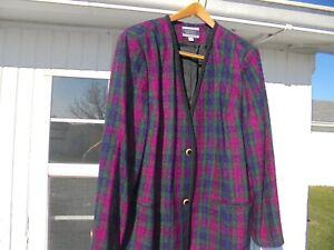 amanda smith women's 24w blazer, plaid checkered blazer, classy women