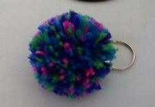 """Key Chain with 2.5"""" Yarn Pom-Pom Attached-- Color-Bright Mix"""