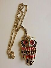 SAO Articulated Owl Gold Toned Pendant Necklace
