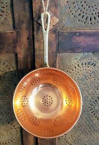 Copper Colander Strainer Brass Handle Made In Portugal