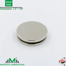 """2-count neodymium N45 Disc rare earth NdFeB magnets 1.5 x 1/8"""" (true N45)"""