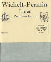 Wichelt Permin PREMIUM LINEN FABRIC 32 Count Cross Stitch 18 x 27 STAR SAPPHIRE