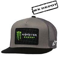 ALPINESTARS MONSTER ENERGY TRUCKER HAT CAP SNAP BACK GREY / BLACK