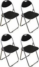 Folding Chairs Padded Faux Leather Studying Dining Office Event Chair Black x4