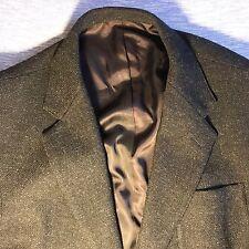 VTG J. Crew men's L 100% Wool Charcoal Herringbone MADE IN USA coat