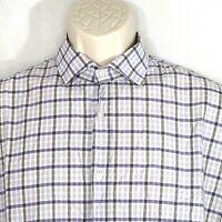 Hugo Hugo Boss Plaid Button Up Shirt Men Size 16.5 32/33 42 Purple Long Sleeve