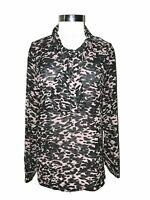 CABI 3148 Size XL Blouse Shirt Top Black Pink Sheer Long Sleeve