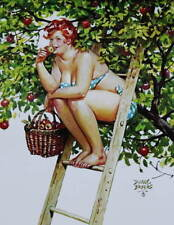 Hilda on Ladder , Basket of  Apples  Tree by Duane Bryers