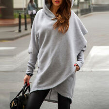 S-5XL ZANZEA Ladies Long Sleeve Hooded Pockets Asymmetric Hem Hoodies Sweatshirt