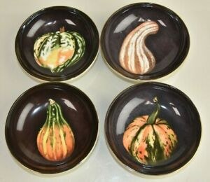 New Williams Sonoma THANKSGIVING Fall Harvest Pumpkin Dip Desert Bowls Set of 4