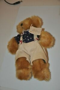 Russ Bear Bears from Past Brown Stars and Strips Shirt Corduroy Short Overall