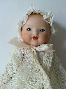 """Bisque Head Baby Doll H B Germany  13"""" Circa early 1900's"""
