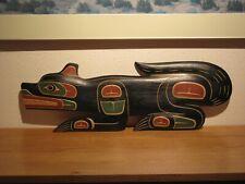 Northwest Coast Matthew Baker Squamish Cedar Carving of Wolf - 23 in.