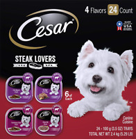 Cesar Steak Lover'S Adult Wet Dog Food Variety Pack Trays 3.5 Ounces Pack Of 24