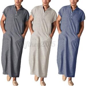 US STOCK Men's Muslim Short Sleeve Saudi Arab Islamic Kaftan Jubba Abaya Thobe