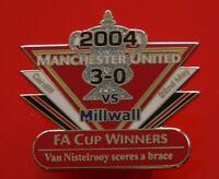 Man Utd Pin Badge Manchester United Football Club Millwall FA Cup Winners 2004