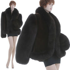 XL-XXL! NEW! Deep Burgundy Real Sheared Mink & Fox Swing Cape/Coat