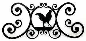 """Farmhouse Rooster Indoor Outdoor House Sign Black Wrought Iron Made in USA 24"""" L"""