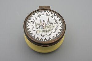 "18th Century Antique Bilston & Battersea ""May you be Happy"" Yellow Trinket Box"