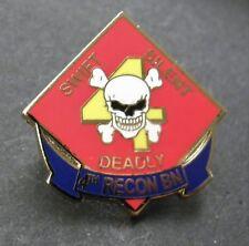US MARINE CORPS 4th Reconnaissance Battalion LAPEL PIN BADGE 1 INCH USMC RECON