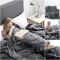 Grey Bedspread Bed Throw Sofa Throws Faux Fur Blanket Double King Size