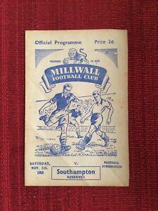 Millwall Reserves v Southampton Reserves, 5/11/1955