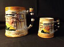 "T.H.Sandland Hand Painted Weller & Sairey Gamp Mugs X2 -Lamp Post Handle 5"" Tall"