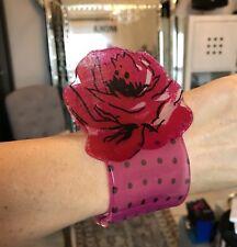 NEW ACRYLIC FLOWER POLKA DOT PINK CUFF / BRACELET WOMEN'S GIFT