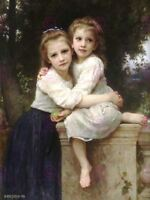 William Adolphe Bouguereau Two Sisters Old Master Art Painting Canvas Art Print