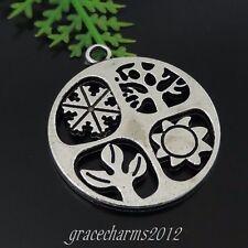 18pcs/lot Vintage Silver Alloy Snowflake Sun Tree Pendant Charms 28*24*2mm 39425