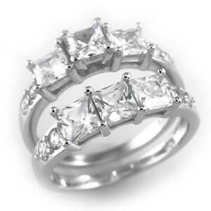 ".925 Sterling Silver Wedding Princess CZ ""Past, Present, Future"" Womens Ring Set"