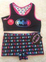 Girls Batman Racer Reversible Sports Bra 2pk Batman Boy Shorts Pink Black Bundle
