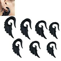 BLACK ANGEL WINGS Acrylic Ear Spirals Piercing Jewellery Tapers Stretchers SP7