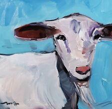 JOSE TRUJILLO Oil Painting IMPRESSIONISM GOAT FARM ANIMAL COLLECTIBLE FINE ART