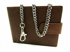 MENS GENUINE TAN LEATHER WALLET WITH CHAIN CREDIT CARD HOLDER COIN POUCH PURSE
