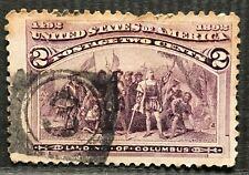 """US Stamp, 1893 2¢ Landing of Columbus """"Broken Hat"""". Scott 231c, Fancy Cancel."""