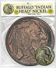 "1913 BUFFALO NICKEL 72 Piece Round Jigsaw Coin Puzzle & 3"" Sticker ~ Ages 5+"