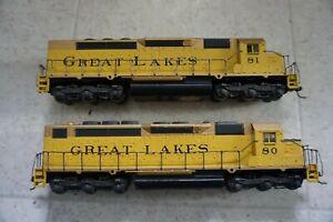 Lot of 2 Diesel Locomotive Athearn HO SDP40 Powered Great Lakes 80 81 Custom